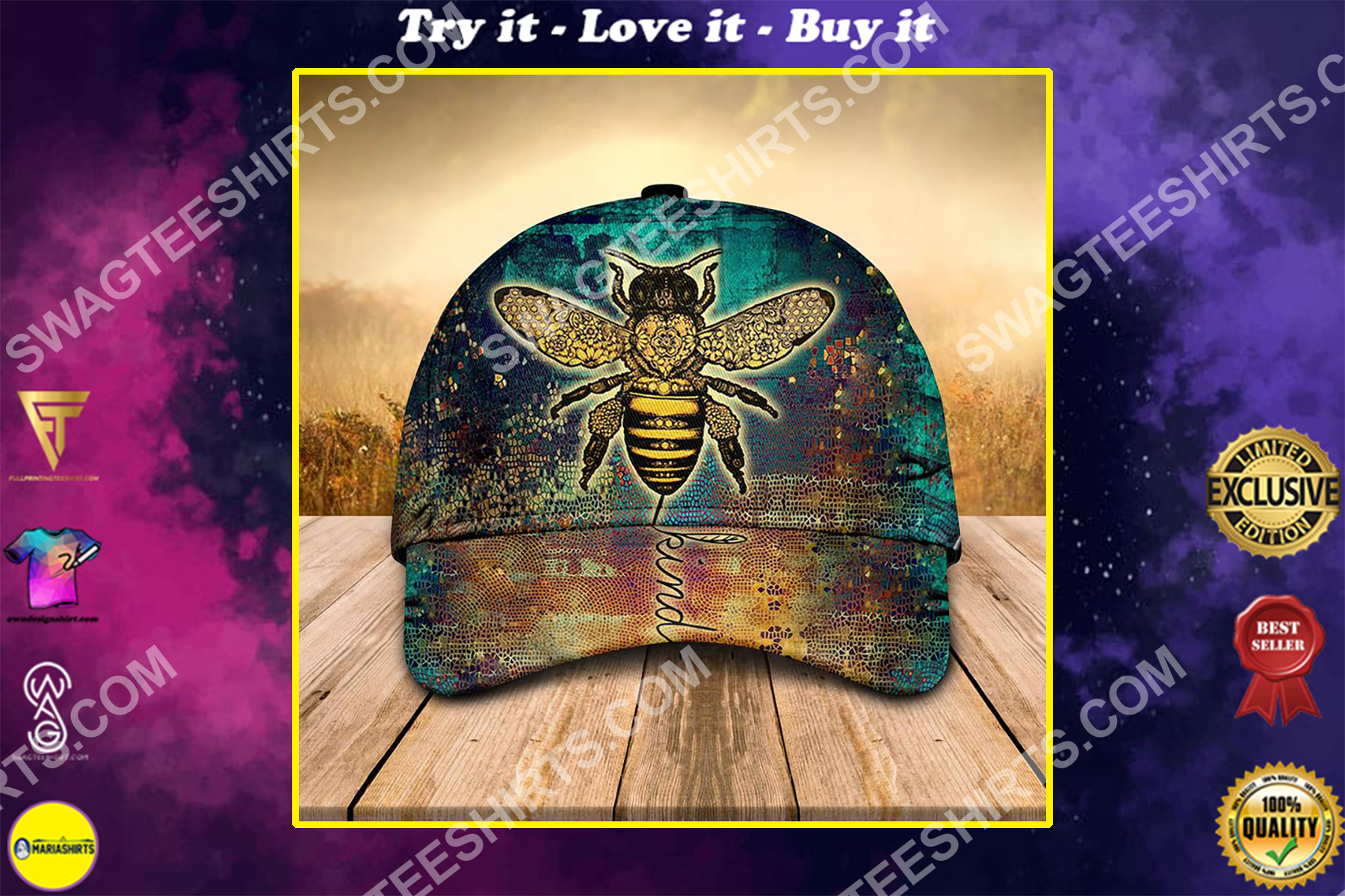 vintage bee kind all over printed classic cap