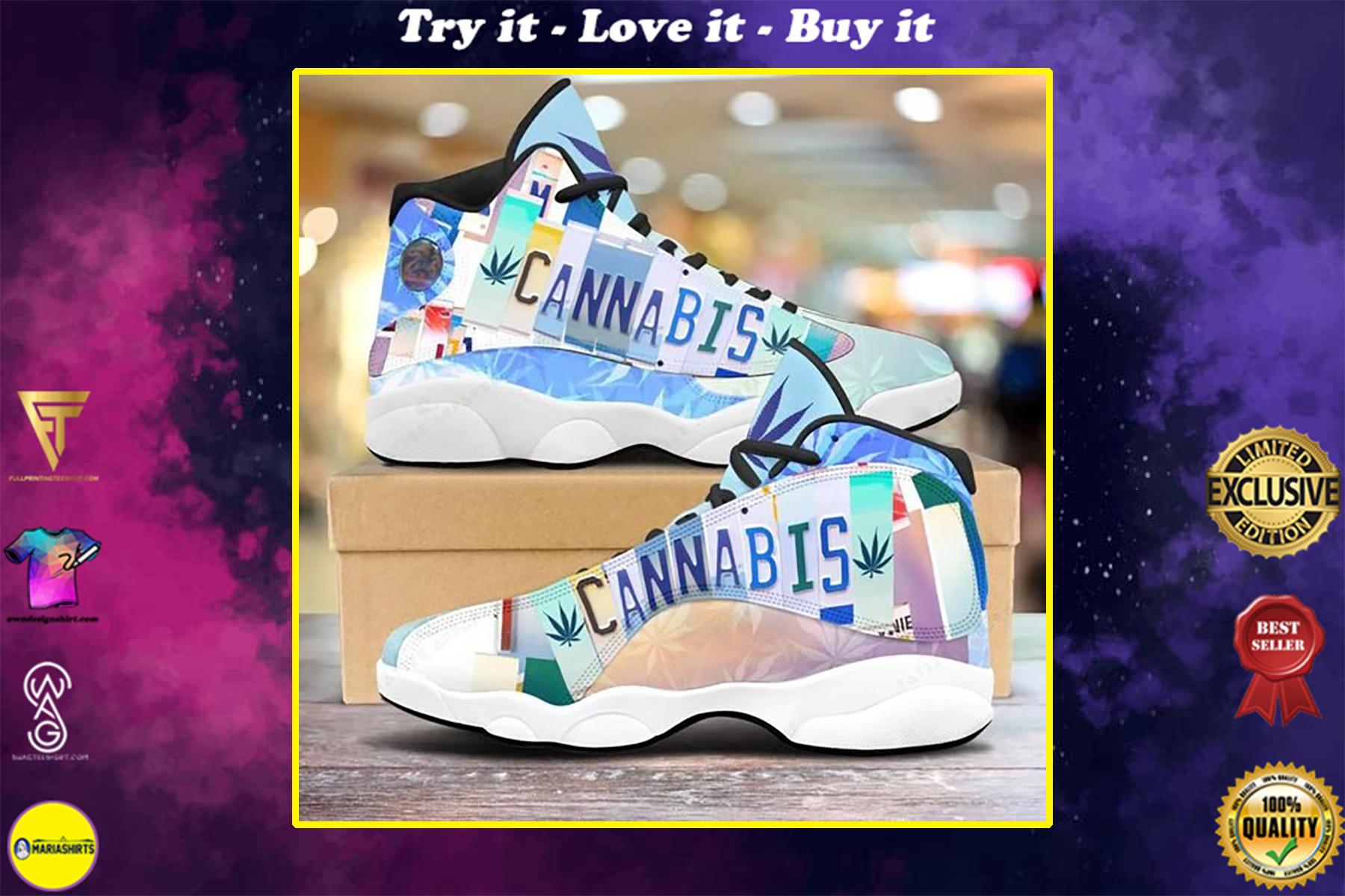 vintage cannabis license plate all over printed air jordan 13 sneakers