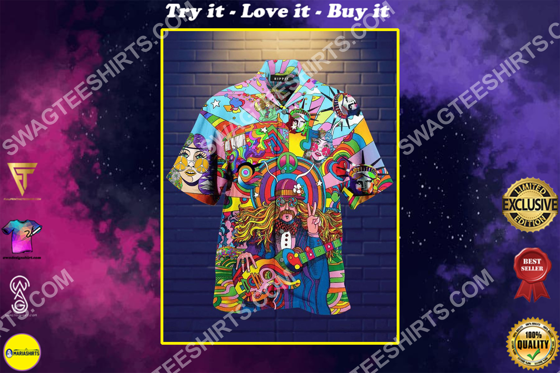 vintage cartoon colorful all over printed hawaiian shirt