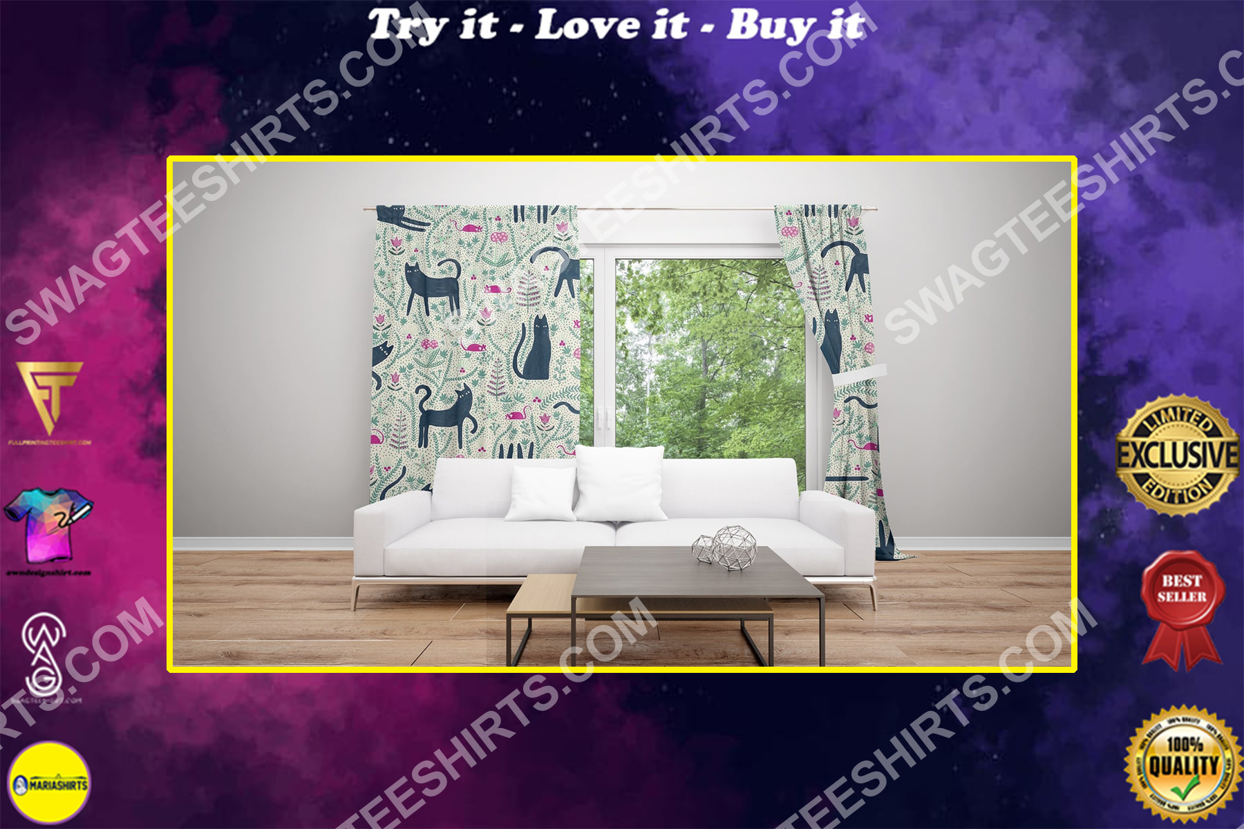 vintage cat passion all over printed window curtains