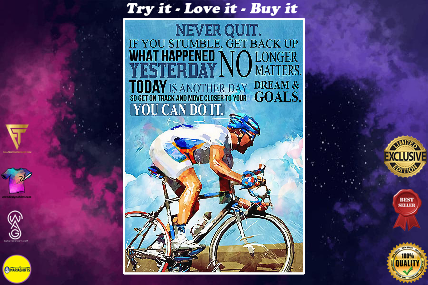 vintage cycling never quit you can do it poster