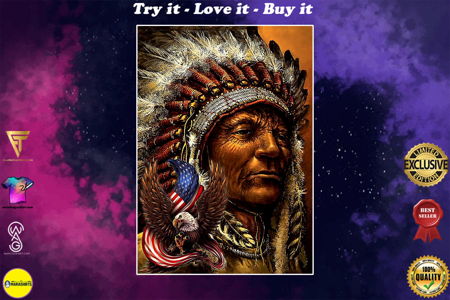 vintage eagle chief native american poster