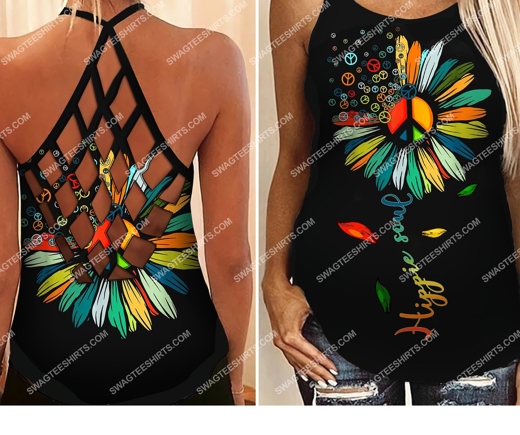 vintage flower hippie soul all over printed strappy back tank top 2 - Copy (2)