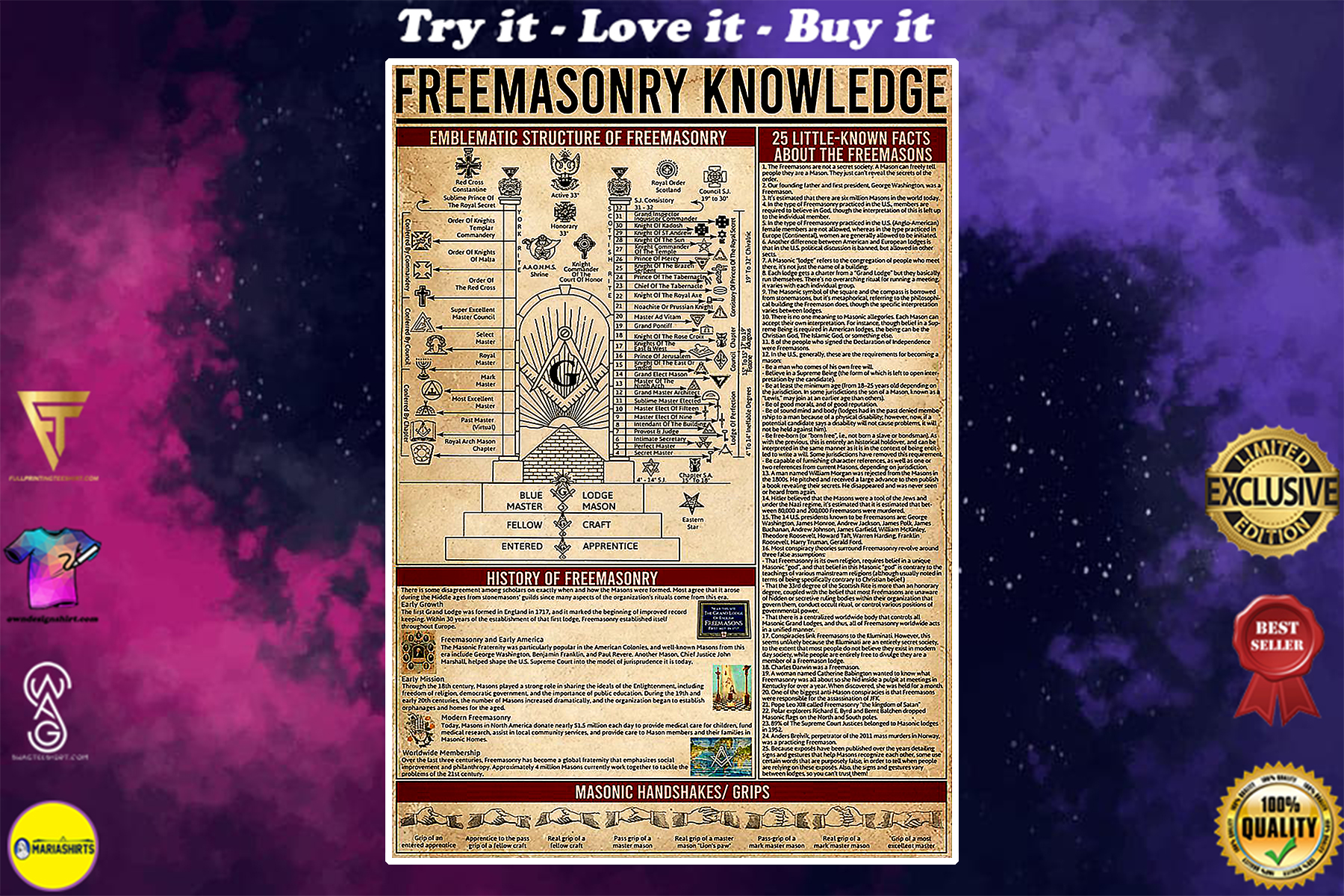 vintage freemasonry knowledge poster