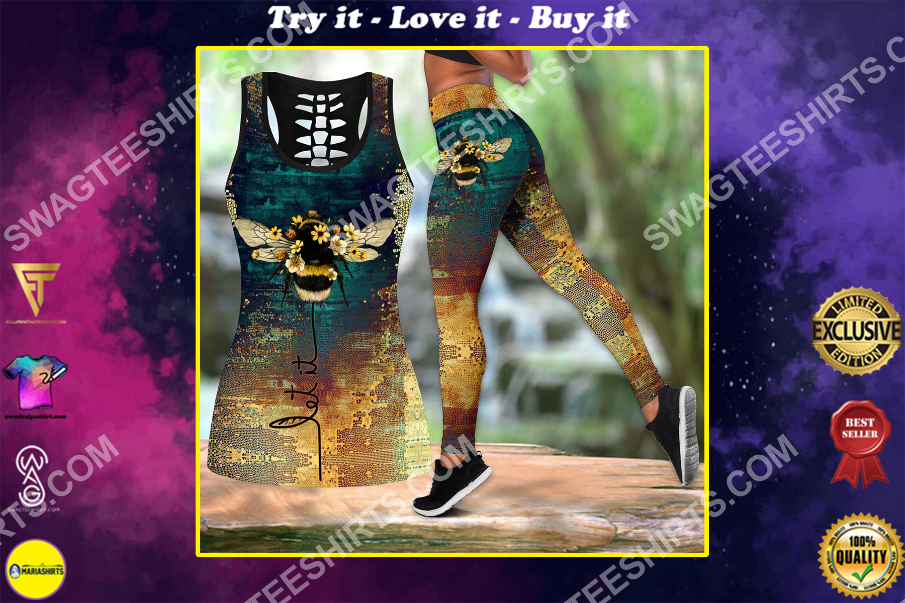 vintage let it bee all over printed set sports outfit