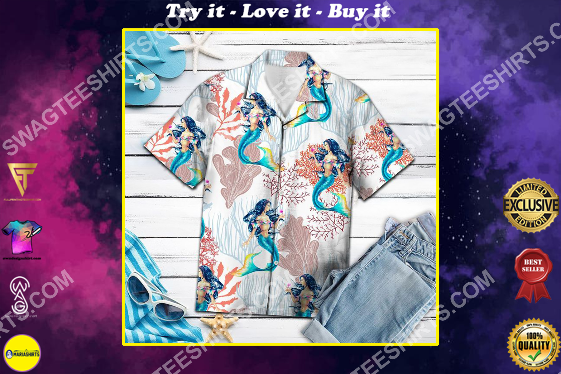 vintage mermaid all over printed hawaiian shirt