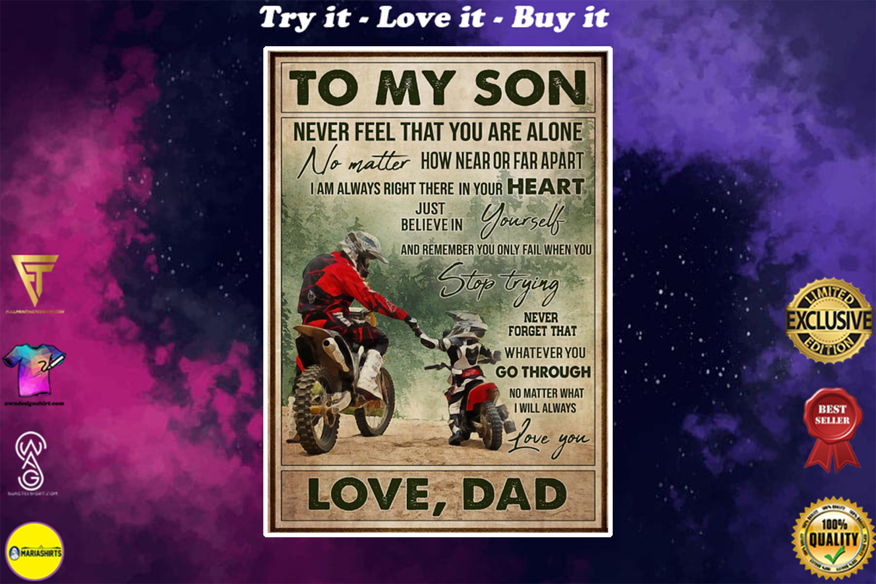 vintage motocross to my son never feel that you are alone love dad poster