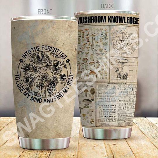 vintage mushroom knowledge all over printed stainless steel tumbler 2(1)