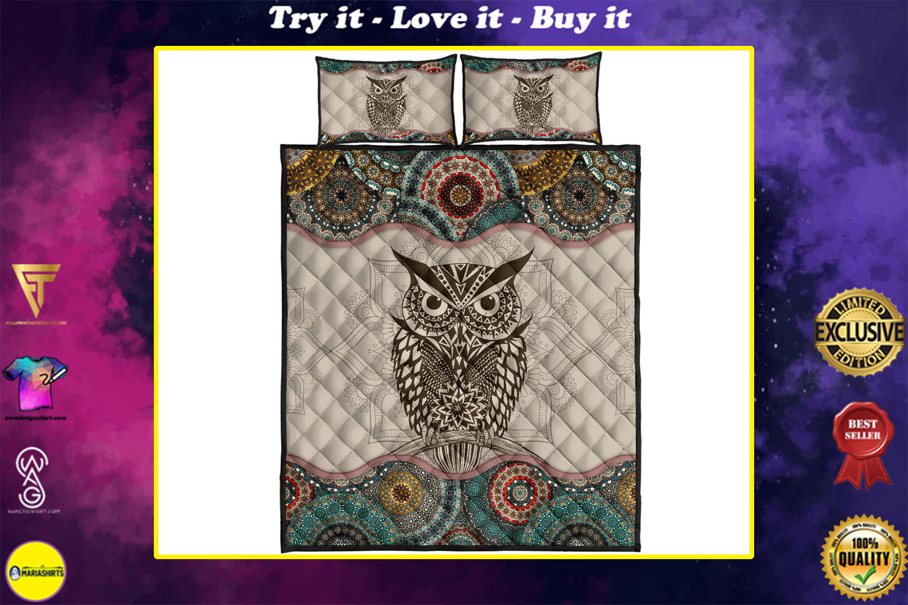 vintage owl lovers full over print quilt