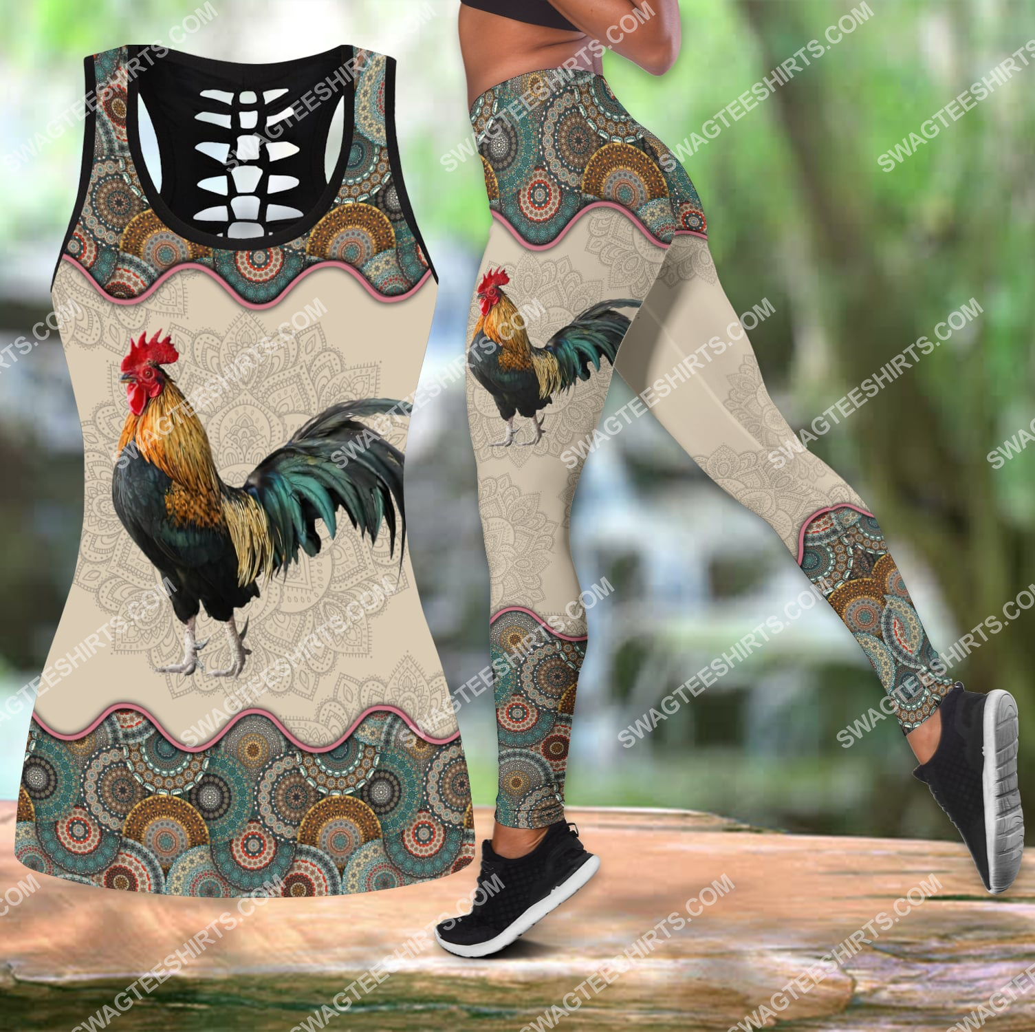 vintage rooster chicken all over printed set sports outfit 3
