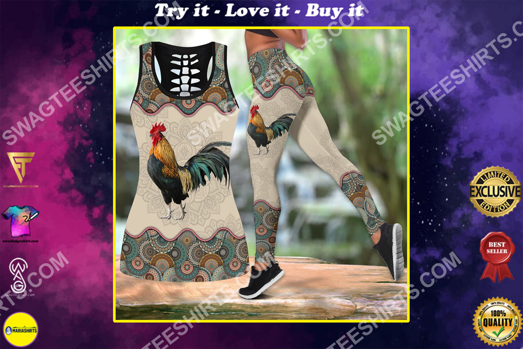 vintage rooster chicken all over printed set sports outfit