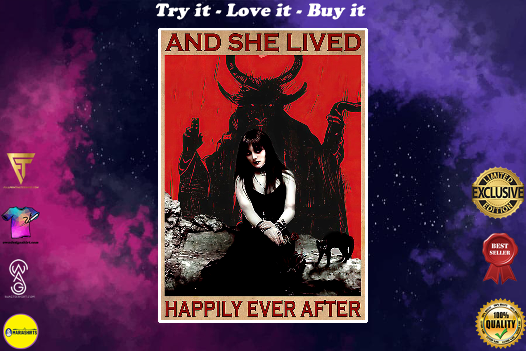 vintage satan and she lived happily ever after poster