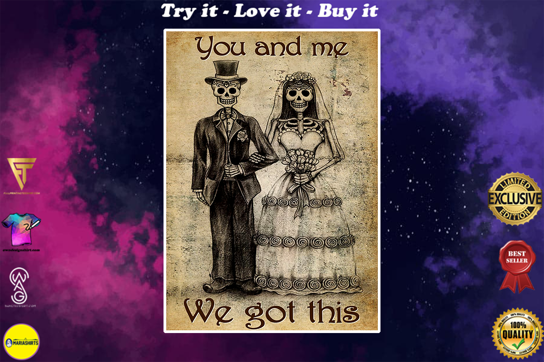 vintage skull couple you and me we got this poster