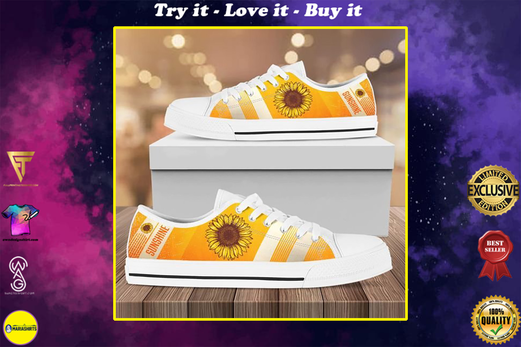 vintage sunflower canvas full printing low top shoes