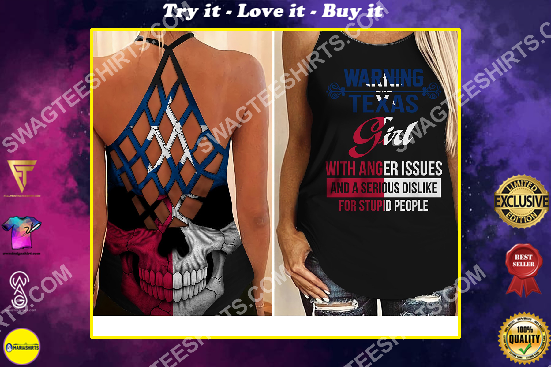 vintage texas girl all over printed strappy back tank top