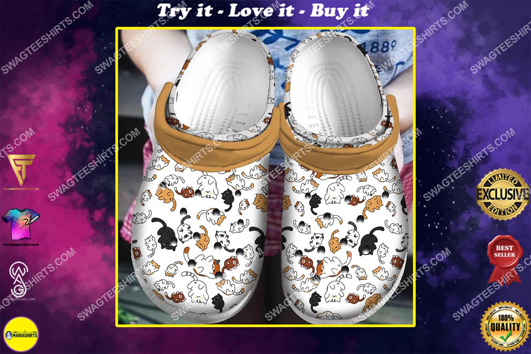vintage the cats lover all over printed crocs
