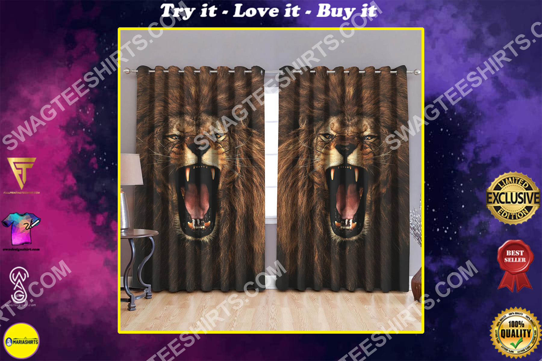 vintage the king lion all over printed window curtains