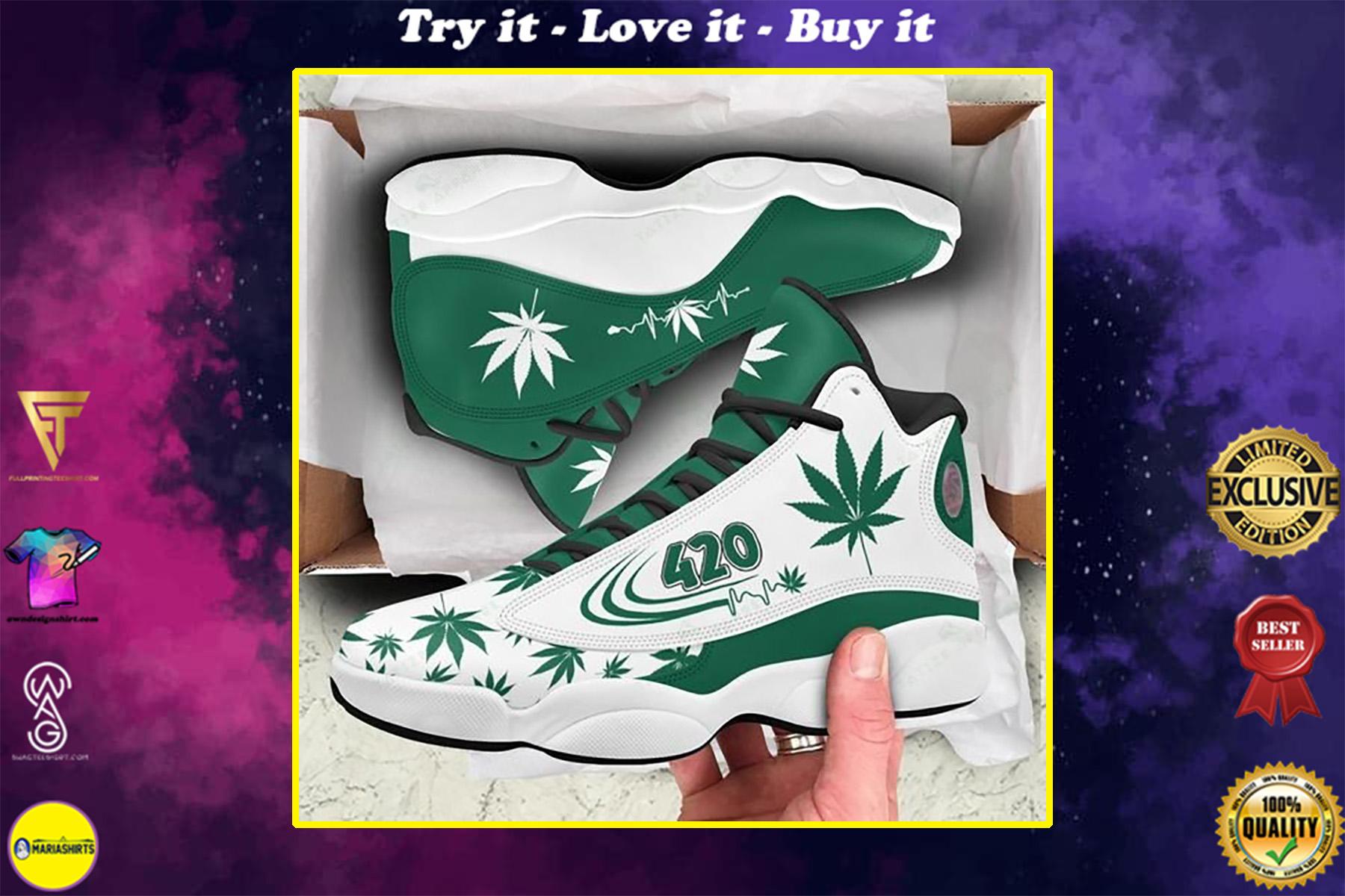 weed leaf 420 heartbeat all over printed air jordan 13 sneakers