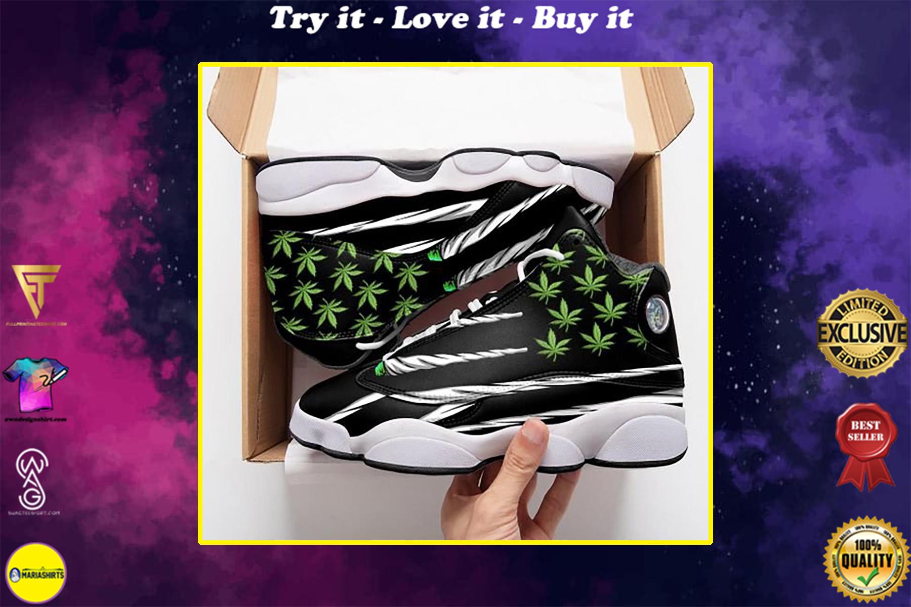 weed leaf cannabis flag all over printed air jordan 13 sneakers