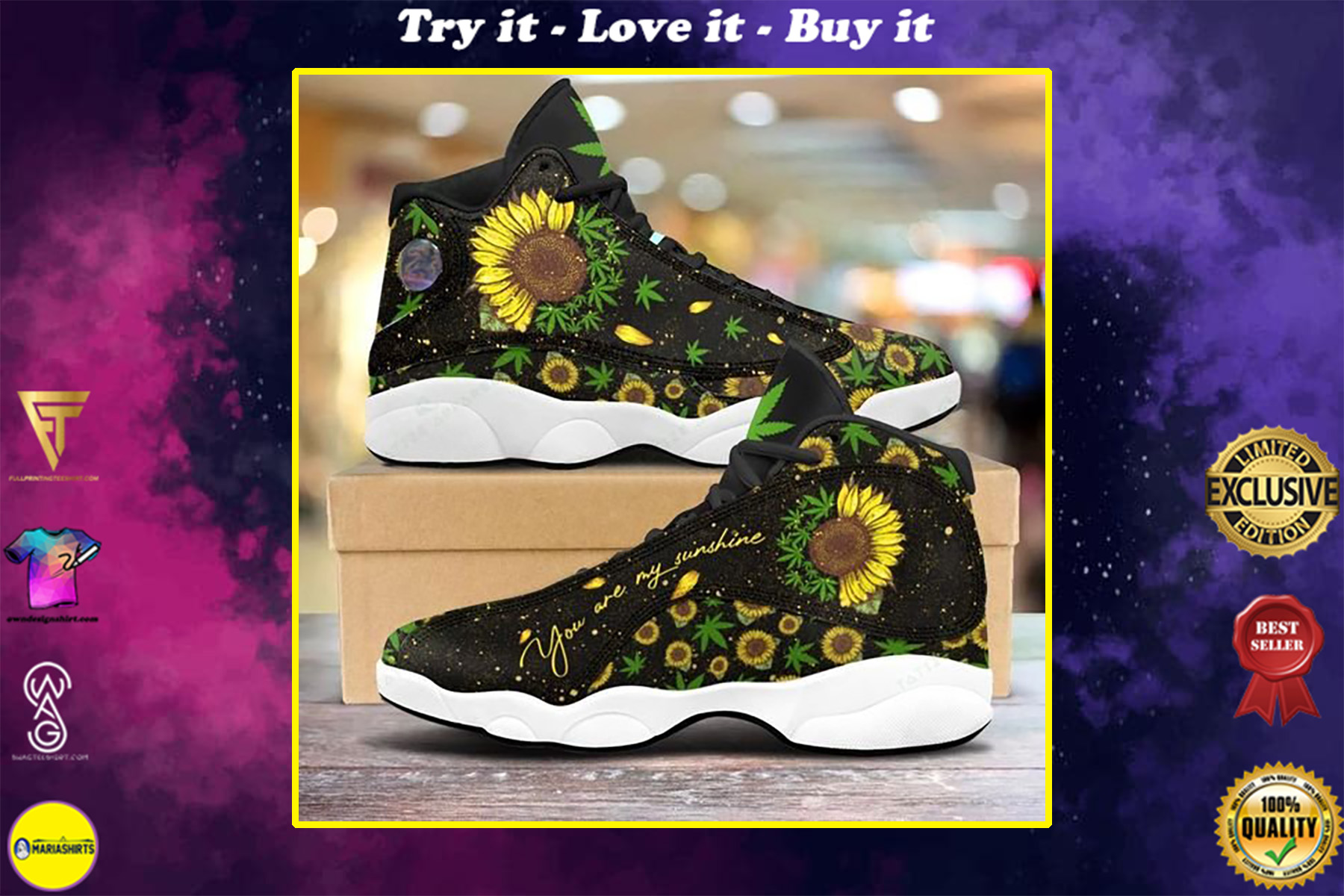 weed sunflower you are my sunshine all over printed air jordan 13 sneakers