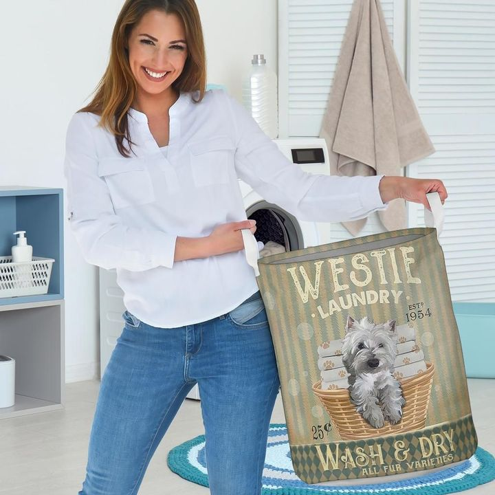 westie dog wash and dry all over print laundry basket 3
