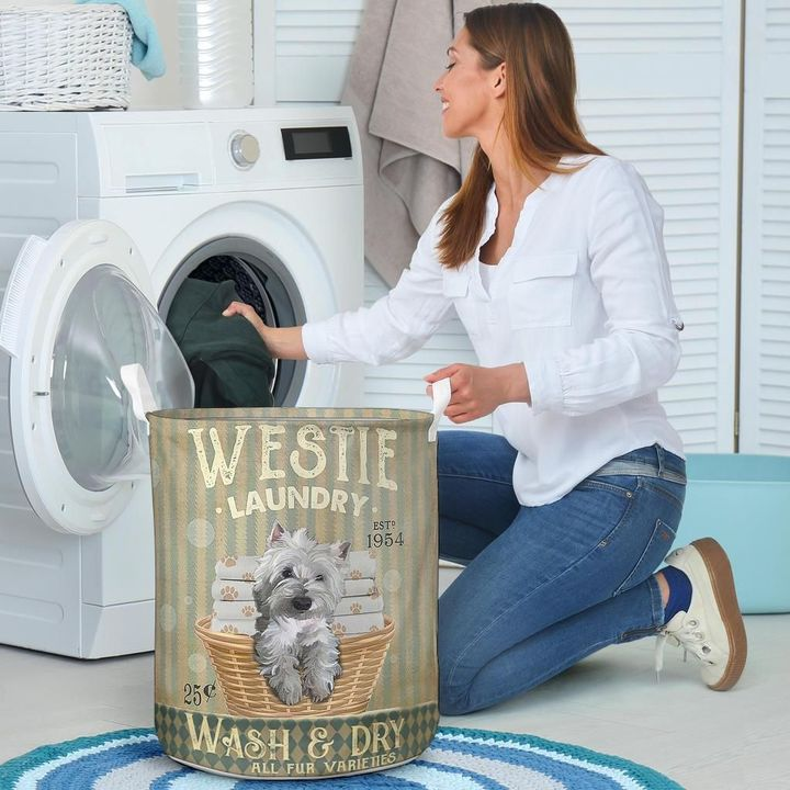 westie dog wash and dry all over print laundry basket 4