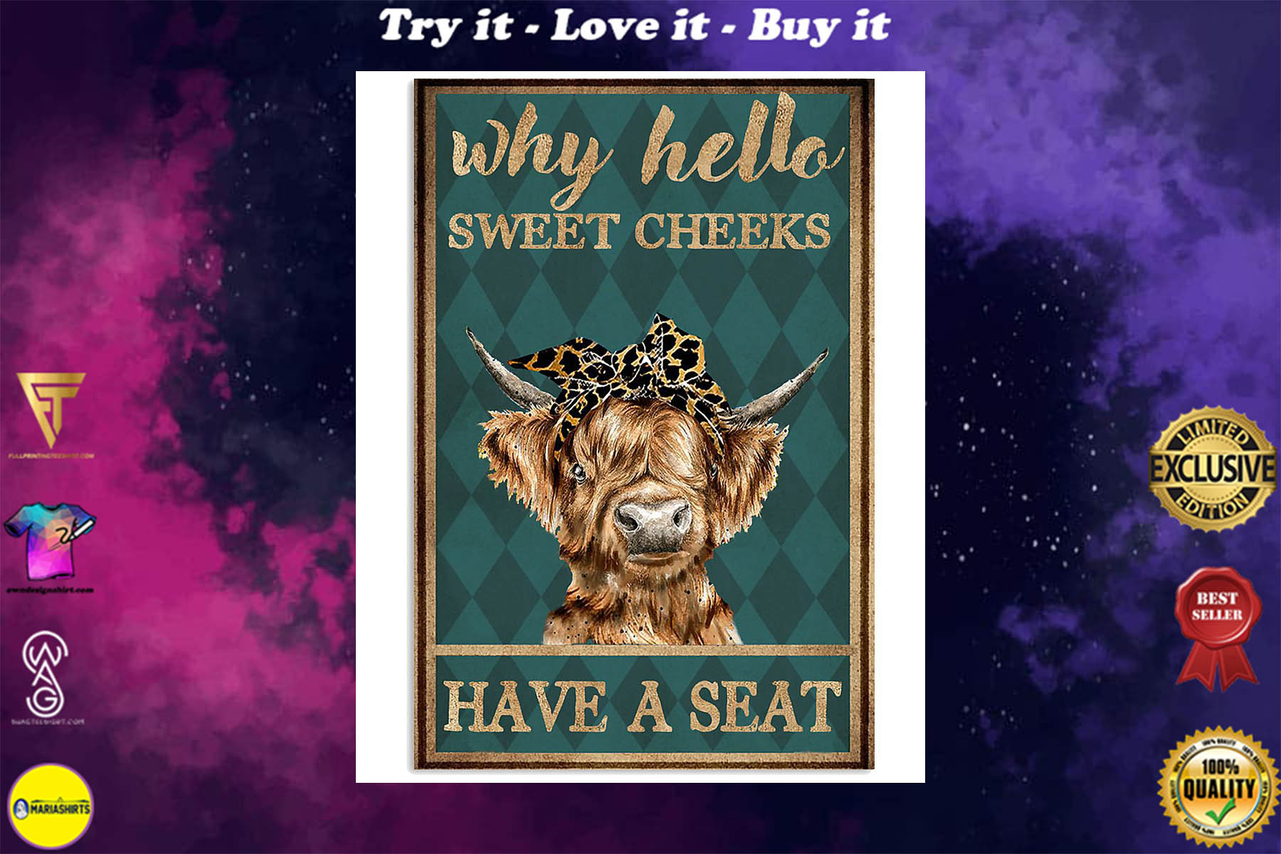 why hello sweet cheeks have a seat cow retro poster