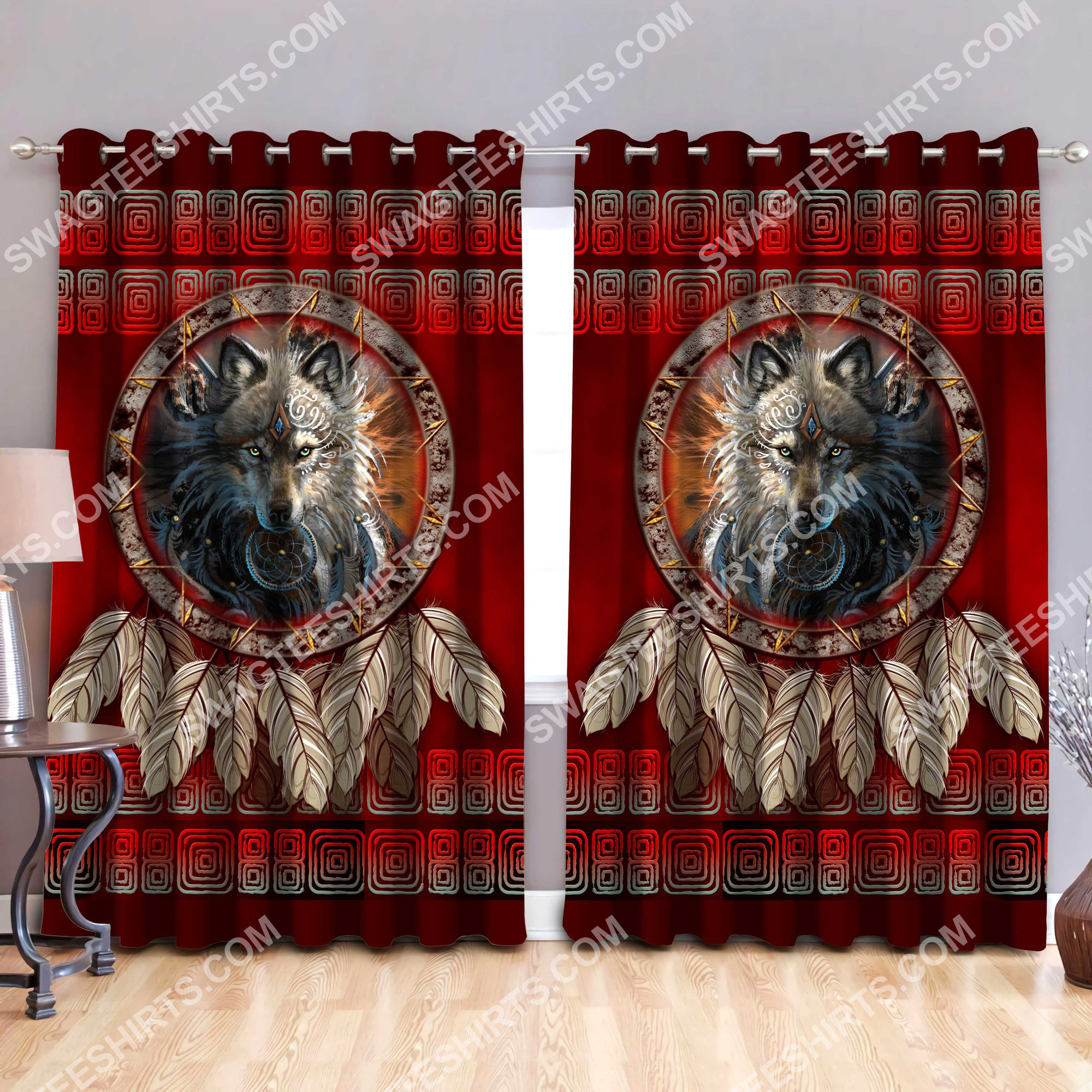 wolf american native symbol all over printed window curtains 2(2) - Copy