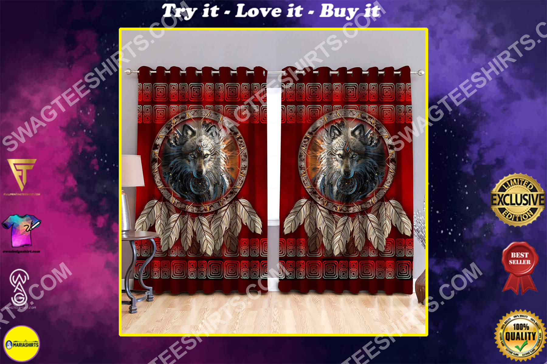 wolf american native symbol all over printed window curtains