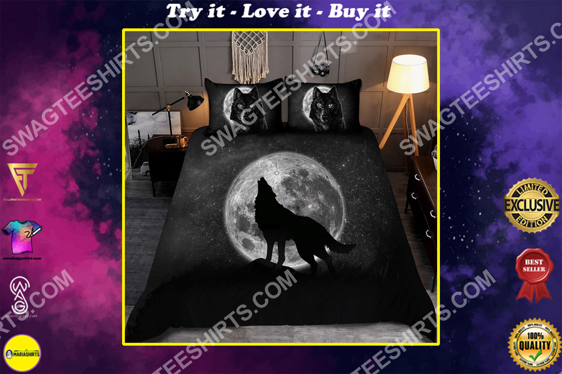 wolf and the moon all over printed bedding set