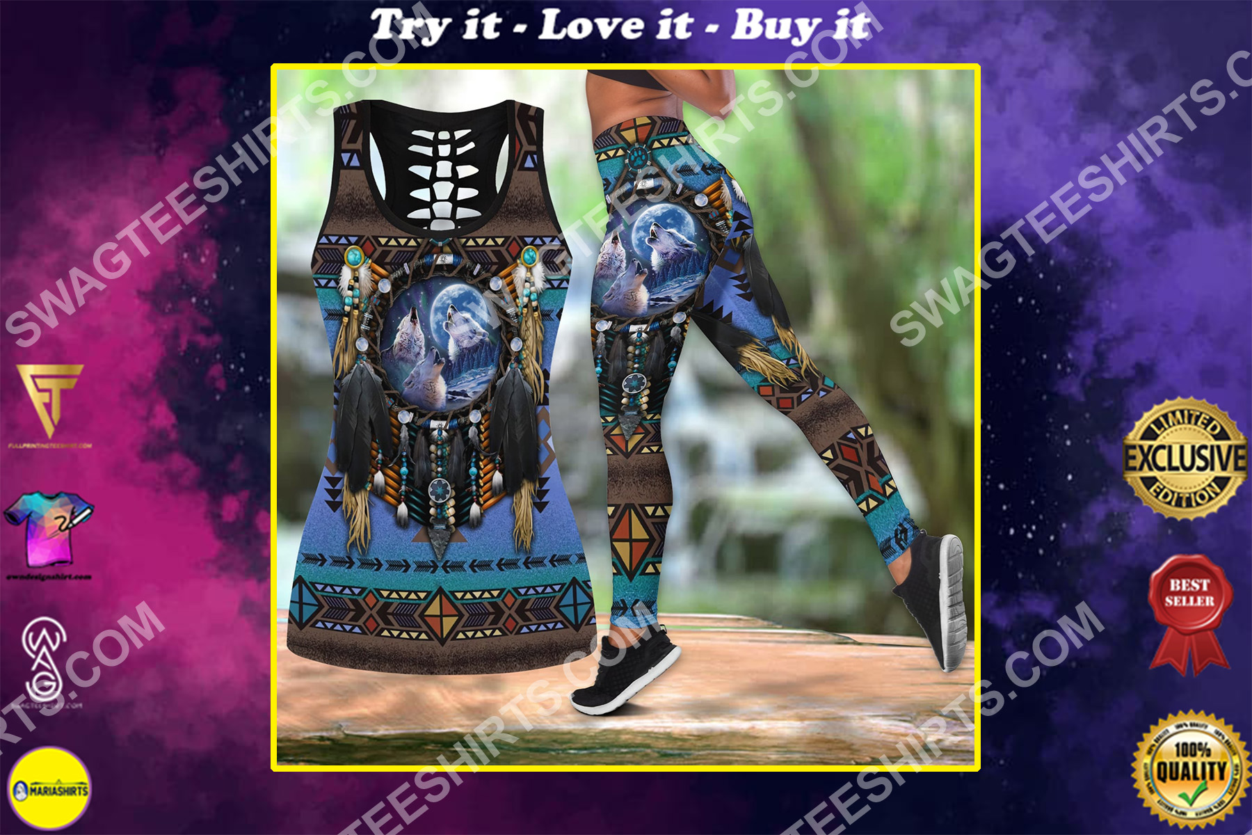 wolf native american symbol all over printed set sports outfit