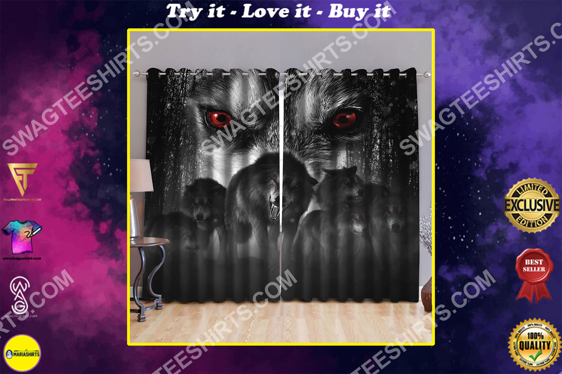 wolf with red eyes all over printed window curtains