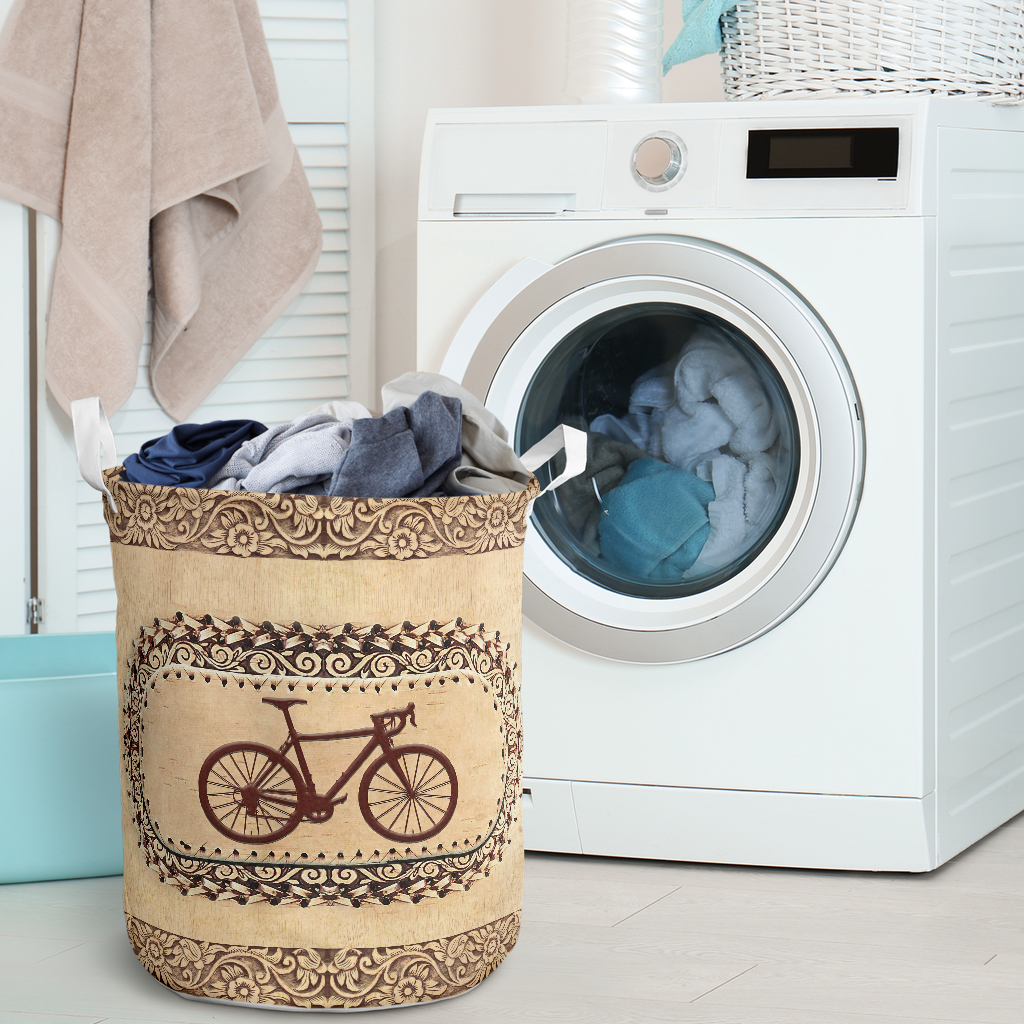wood bicycle all over printed laundry basket 2