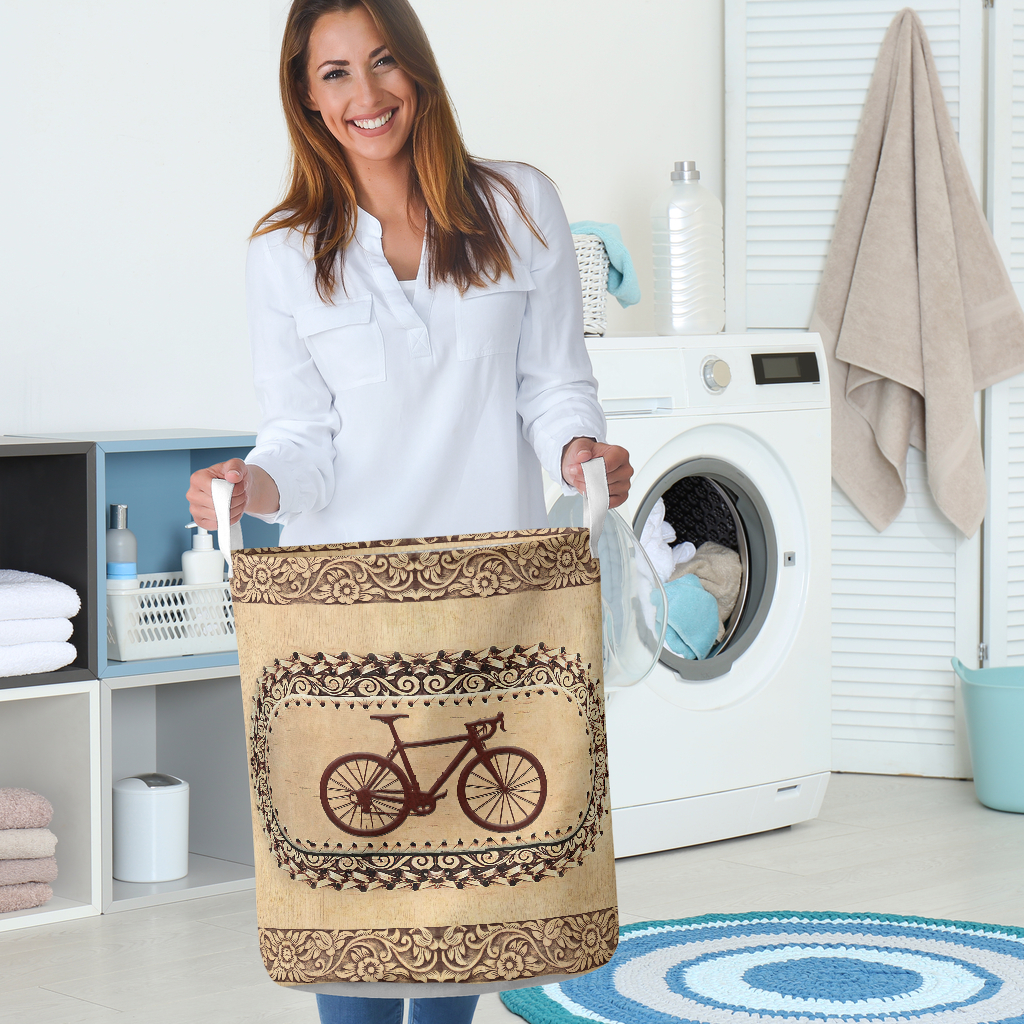 wood bicycle all over printed laundry basket 5