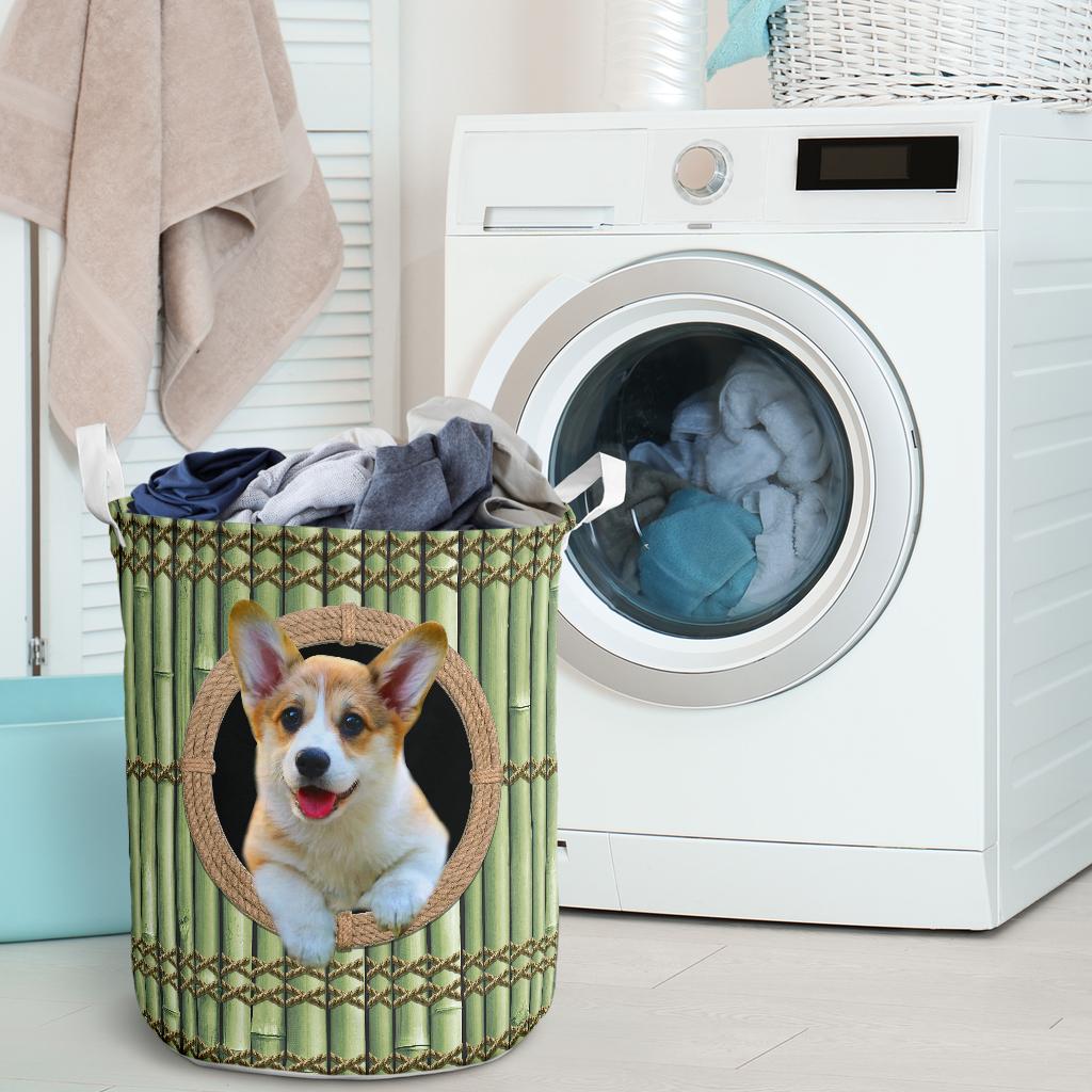wood corgi all over printed laundry basket 2