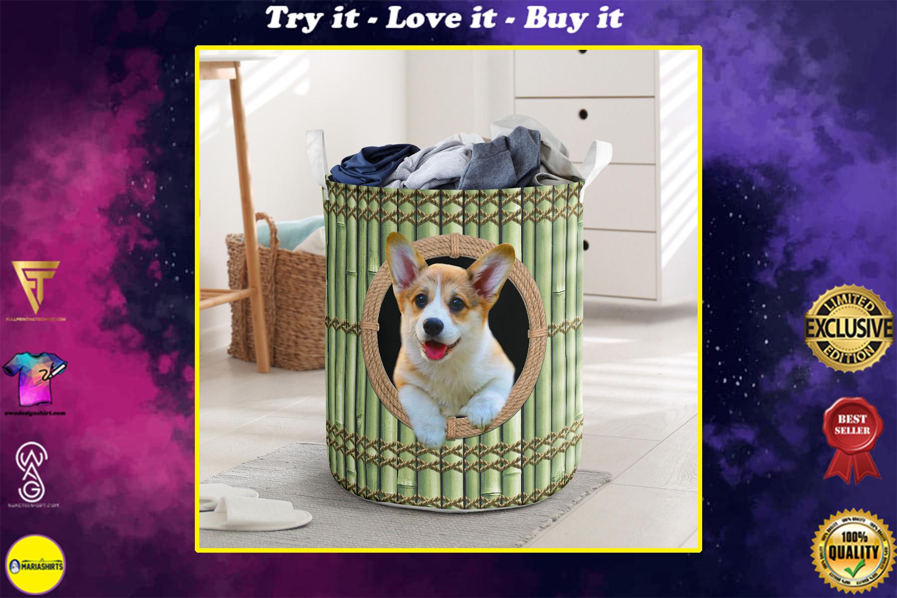 wood corgi all over printed laundry basket