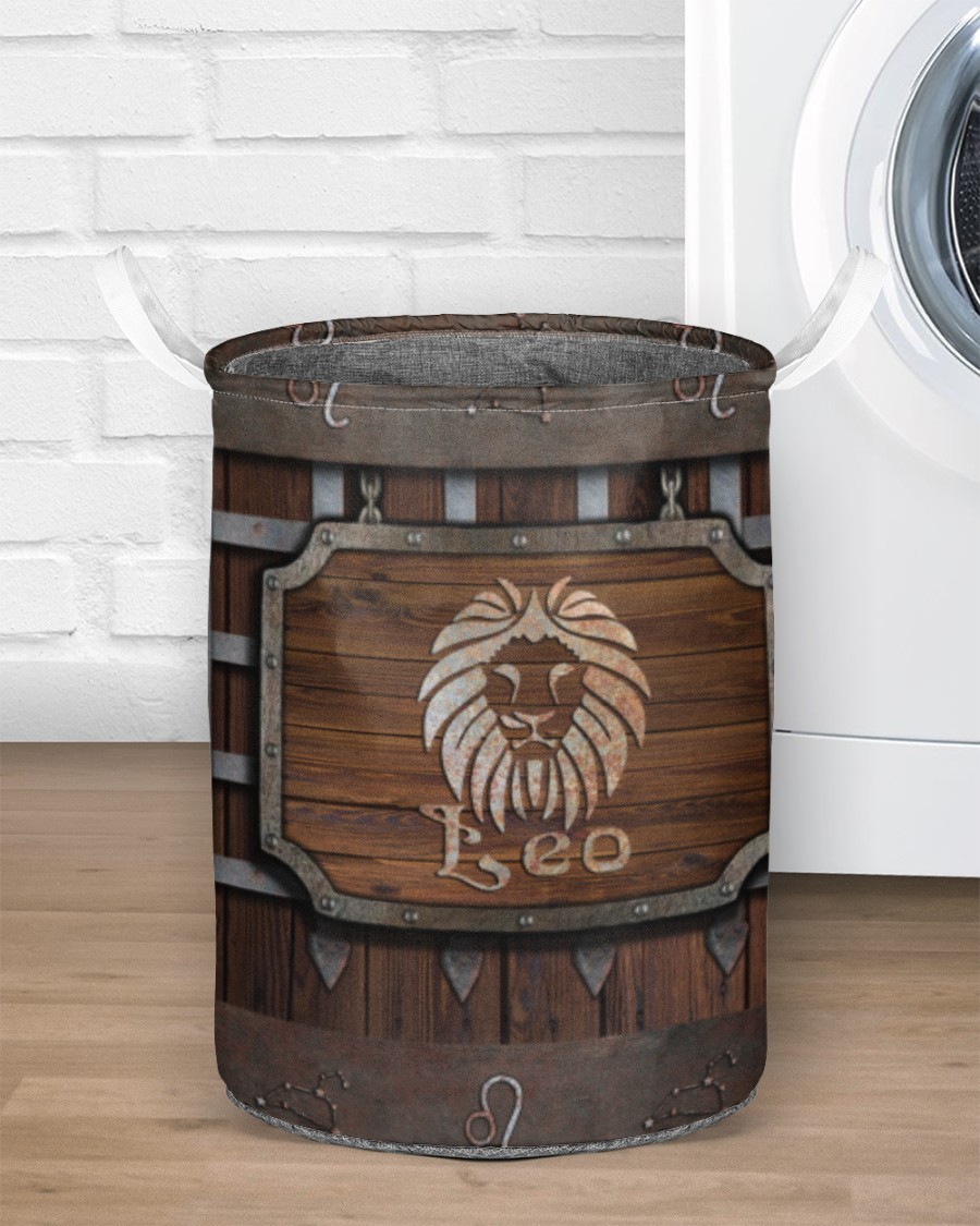wood leo all over printed laundry basket 2