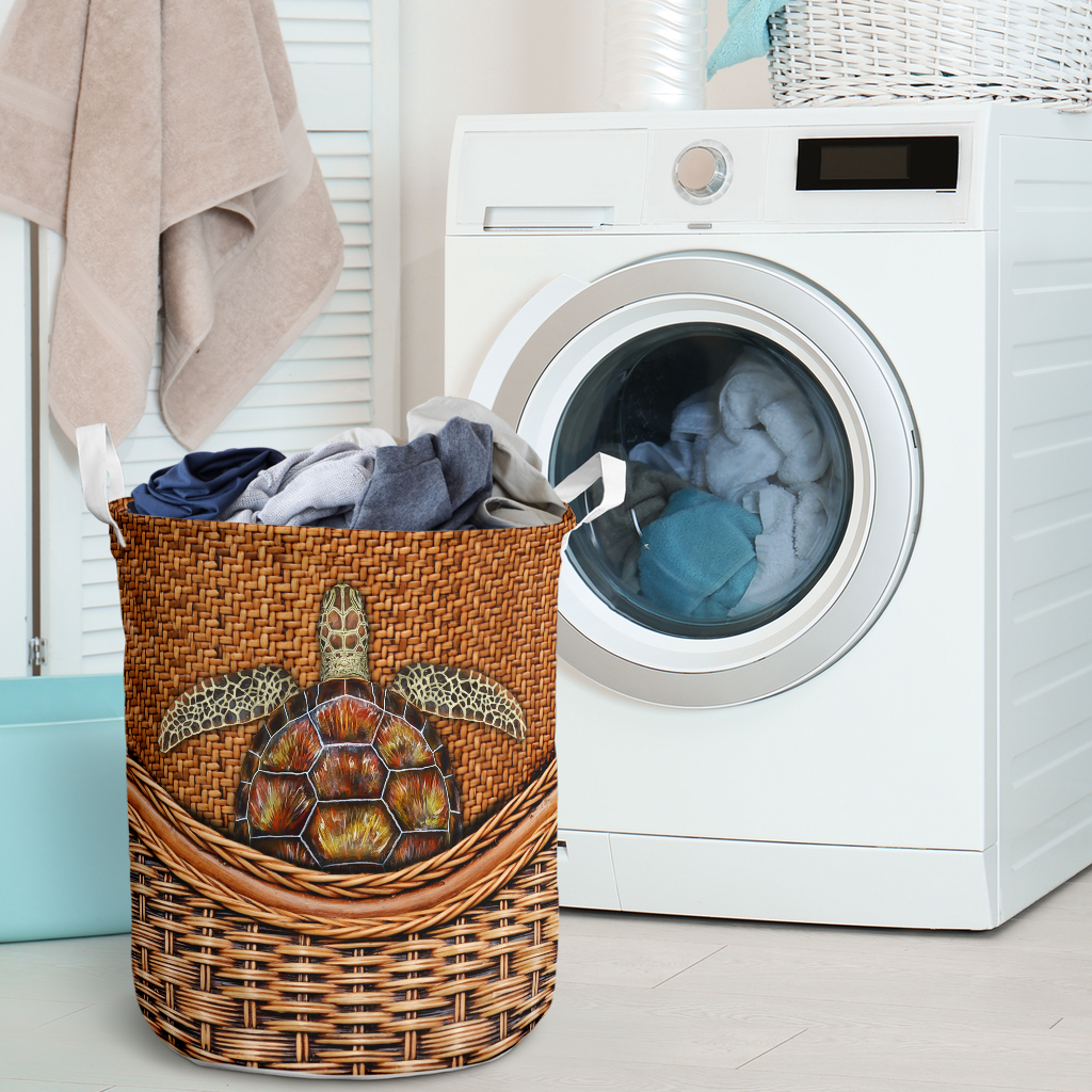 wood turtle all over printed laundry basket 2
