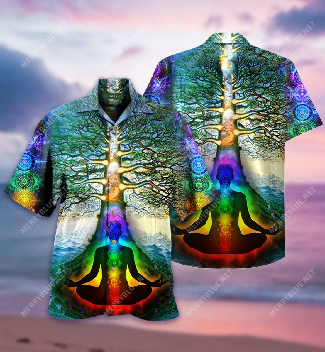 yoga tree of life all over printed hawaiian shirt 2