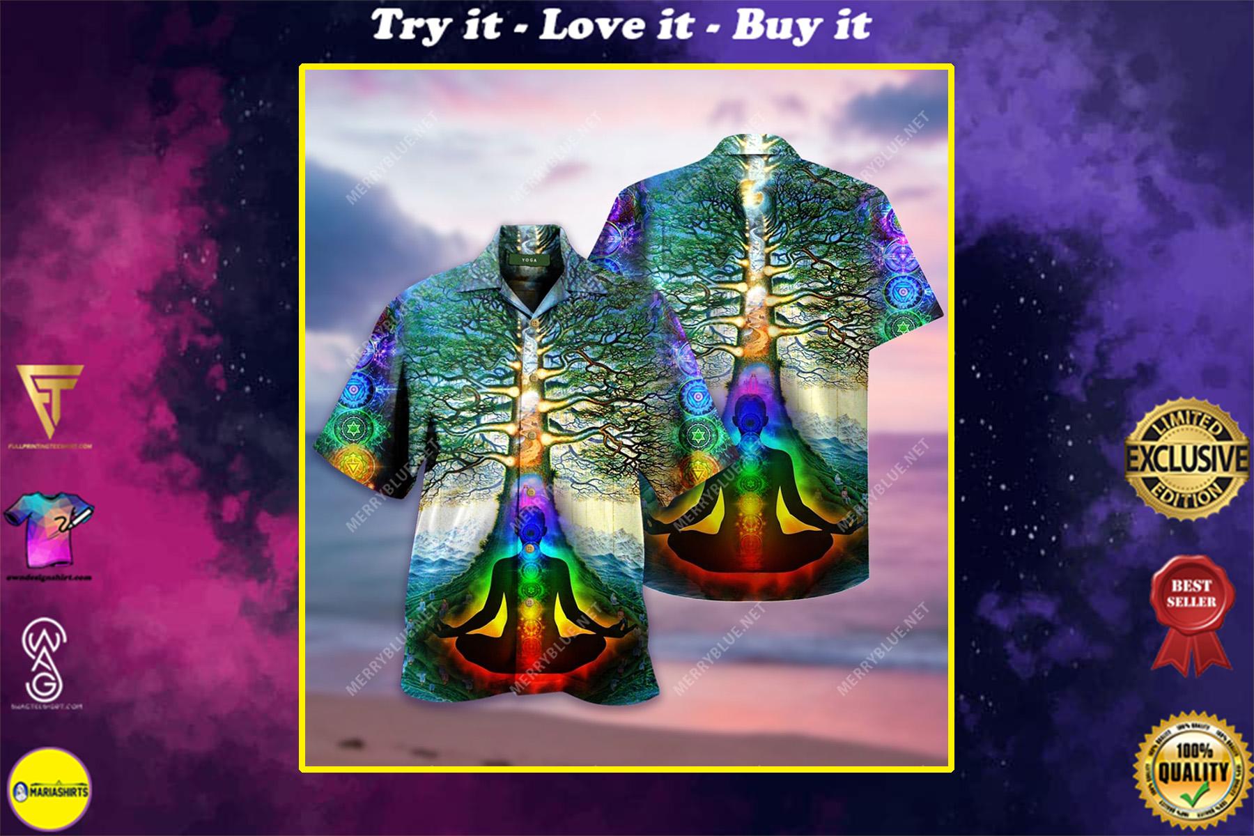 yoga tree of life all over printed hawaiian shirt