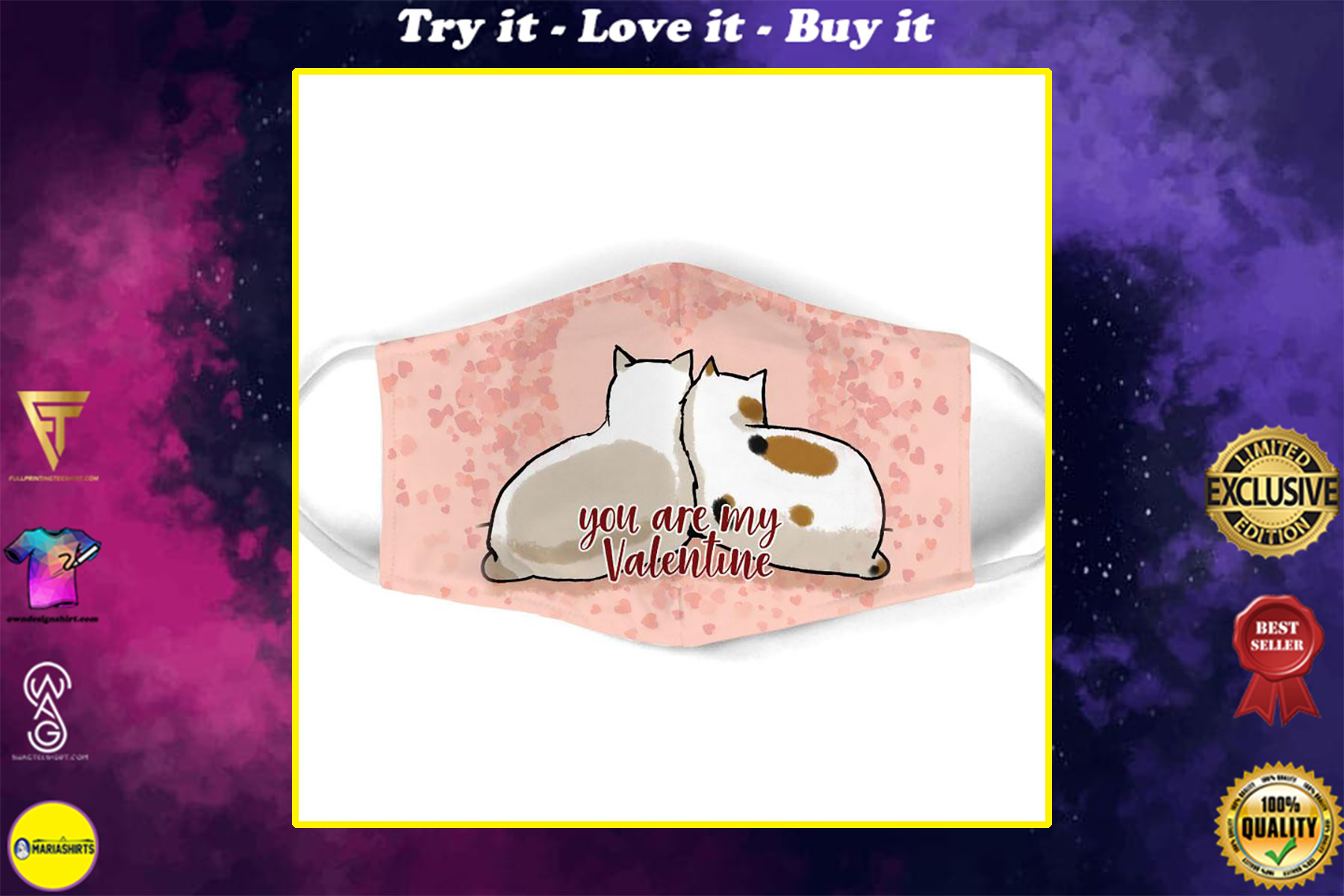 you are my valentine couple cat all over print face mask