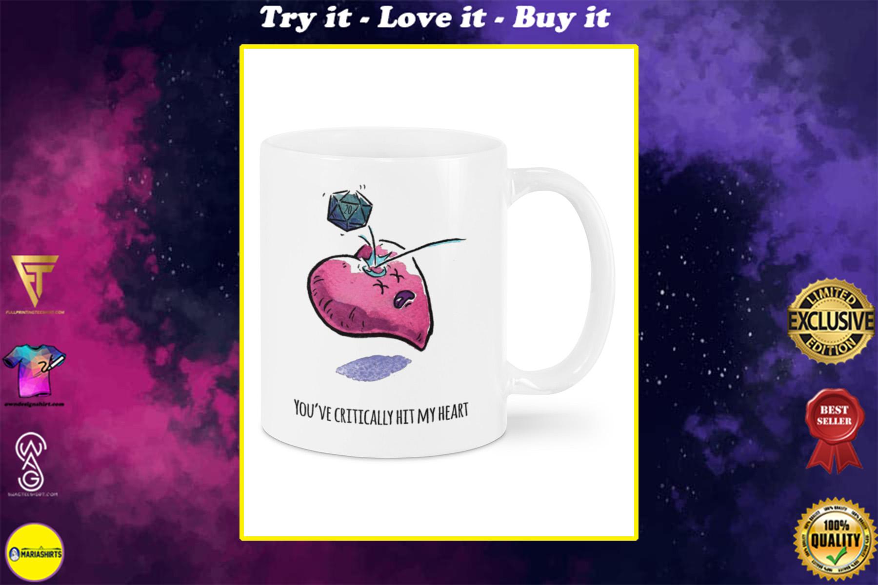 youre critically hit my heart happy valentine's day mug