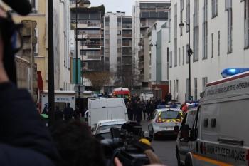 Paris: Área interditada pela polícia após massacre na revista Charlie Hebdo. Foto: jornalista Jérémie Hartmann