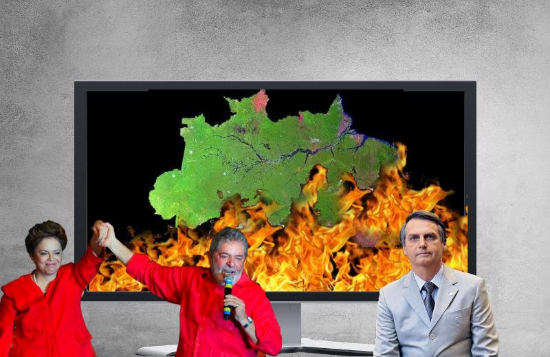 Os incêndios na Amazônia na gestão do PT, de Bolsonaro e a opinião da grande mídia
