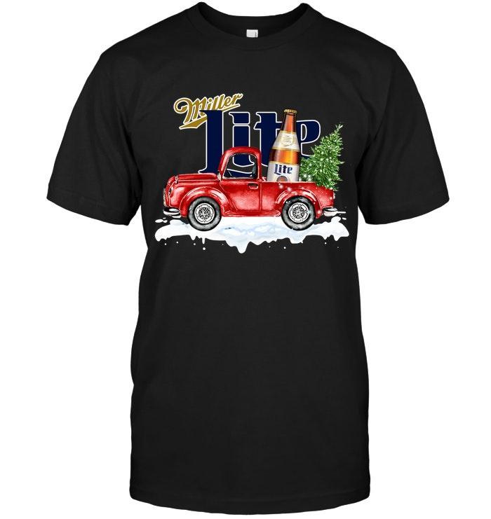 Miller Lite Christmas Truck Shirt Tshirt, Hoodie, Sweater Up To 5xl Black