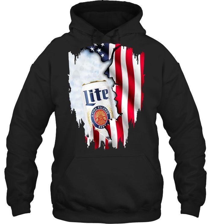 Miller Lite Ripped American Flag Hoodie Tshirt, Hoodie, Sweater Up To 5xl Black