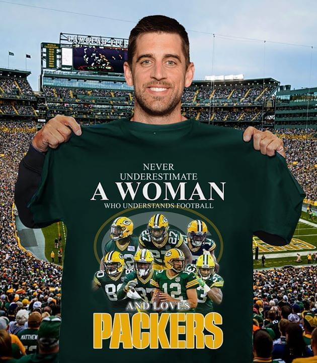 Never Underestimate Woman Understands Football And Loves Green Bay Packers Fan T Shirt Tshirt, Hoodie, Sweater Up To 5xl Black