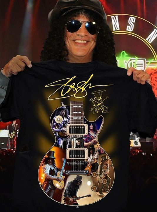Slash Guitar Images Signed T Shirt Tshirt, Hoodie, Sweater Up To 5xl Black