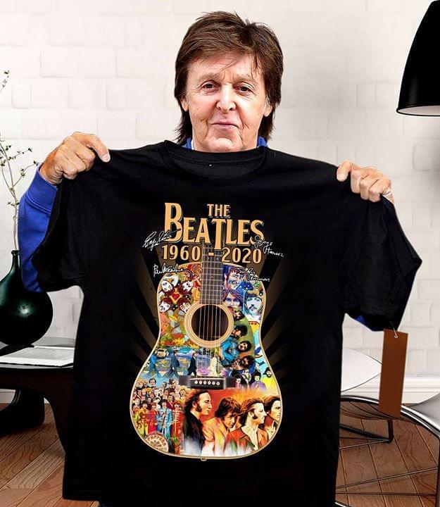 The Beatles 1960 2020 Guitar Images Signed Shirt Tshirt, Hoodie, Sweater Up To 5xl White