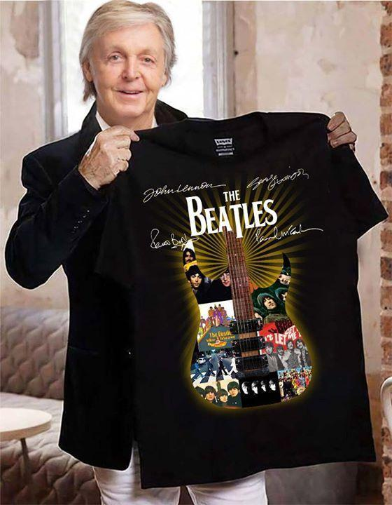 The Beatles Guitar Images Band Member Signed T Shirt Tshirt, Hoodie, Sweater Up To 5xl Black